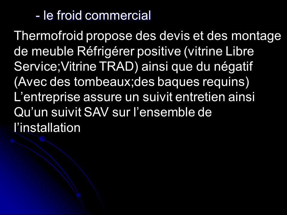 - le froid commercial - le froid commercial Thermofroid propose des devis et des montage de meuble Réfrigérer positive (vitrine Libre Service;Vitrine