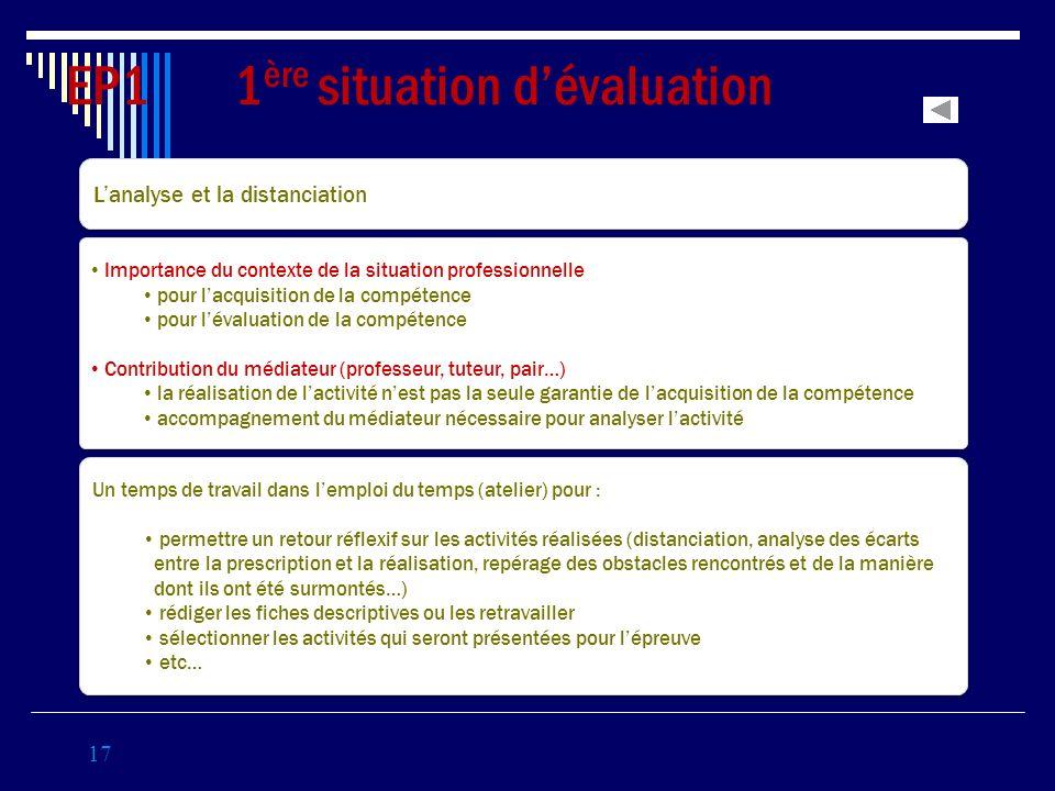 17 EP1 1 ère situation dévaluation Coef 3 Lanalyse et la distanciation Importance du contexte de la situation professionnelle pour lacquisition de la