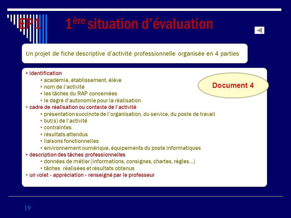 19 EP1 1 ère situation dévaluation Coef 3 Un projet de fiche descriptive dactivité professionnelle organisée en 4 parties identification académie, éta