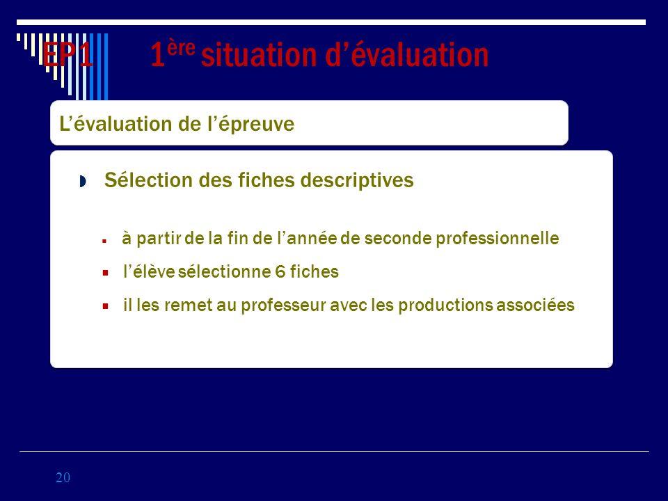 20 EP1 1 ère situation dévaluation Coef 3 Lévaluation de lépreuve Sélection des fiches descriptives à partir de la fin de lannée de seconde profession