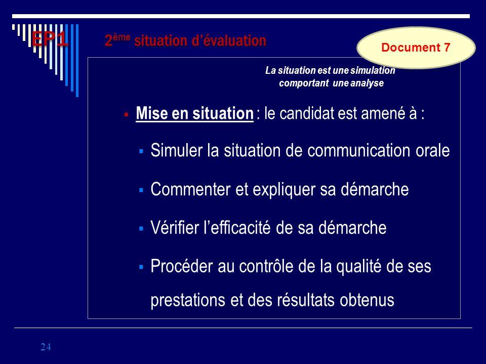 Mise en situation : le candidat est amené à : Simuler la situation de communication orale Commenter et expliquer sa démarche Vérifier lefficacité de s