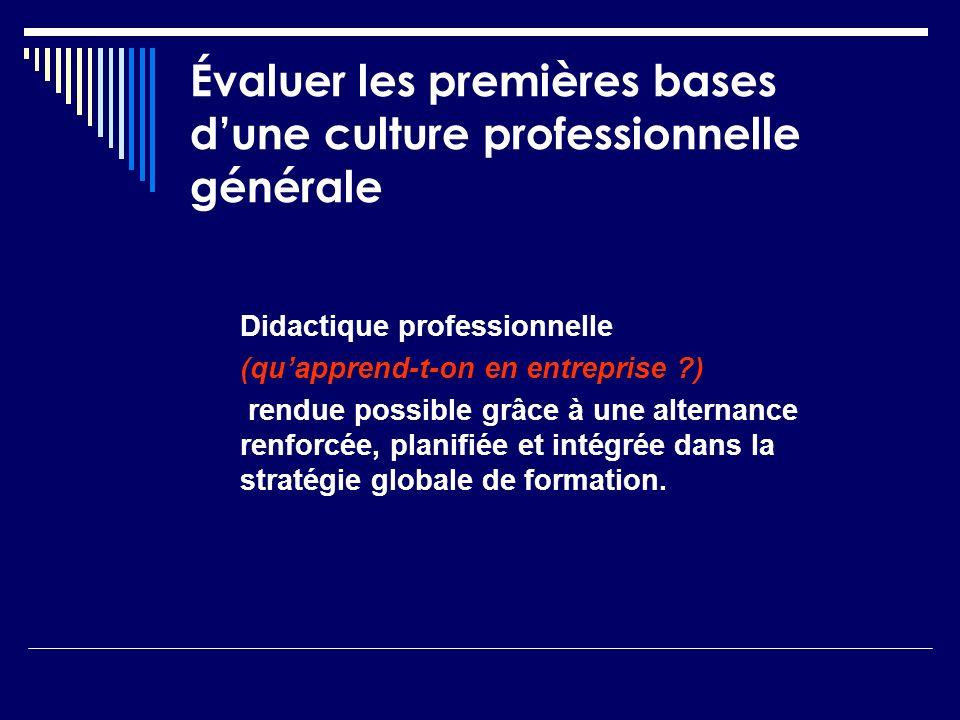 Évaluer les premières bases dune culture professionnelle générale Didactique professionnelle (quapprend-t-on en entreprise ?) rendue possible grâce à