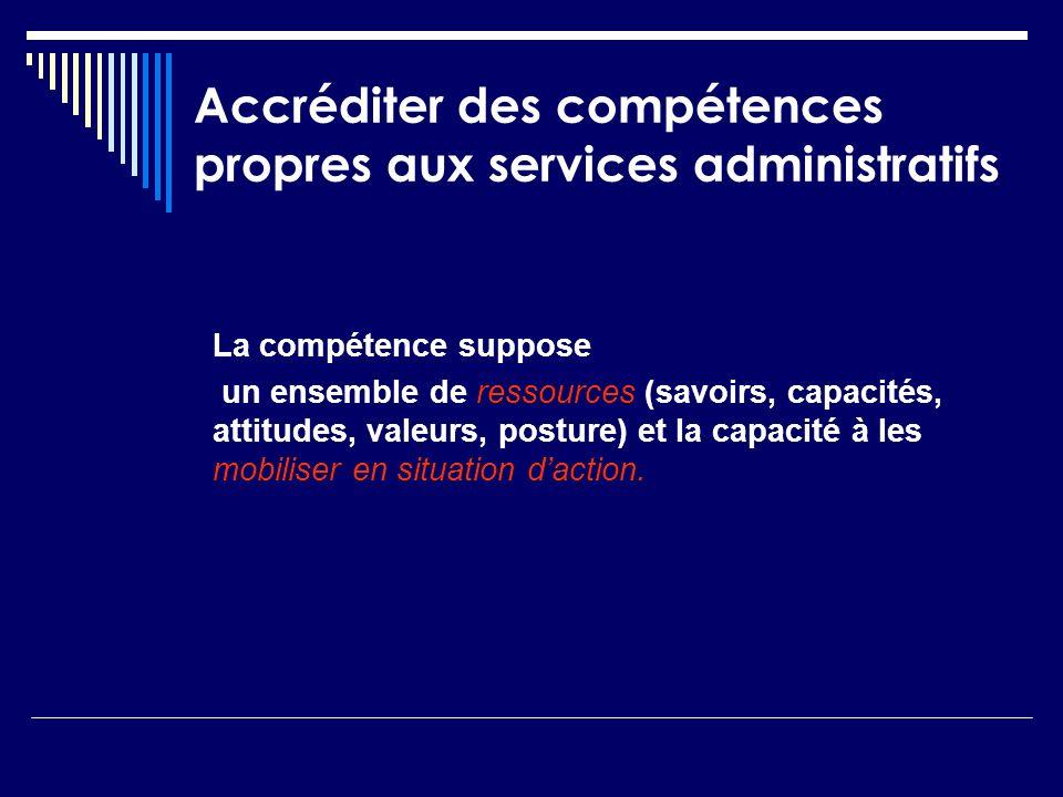 Accréditer des compétences propres aux services administratifs La compétence suppose un ensemble de ressources (savoirs, capacités, attitudes, valeurs