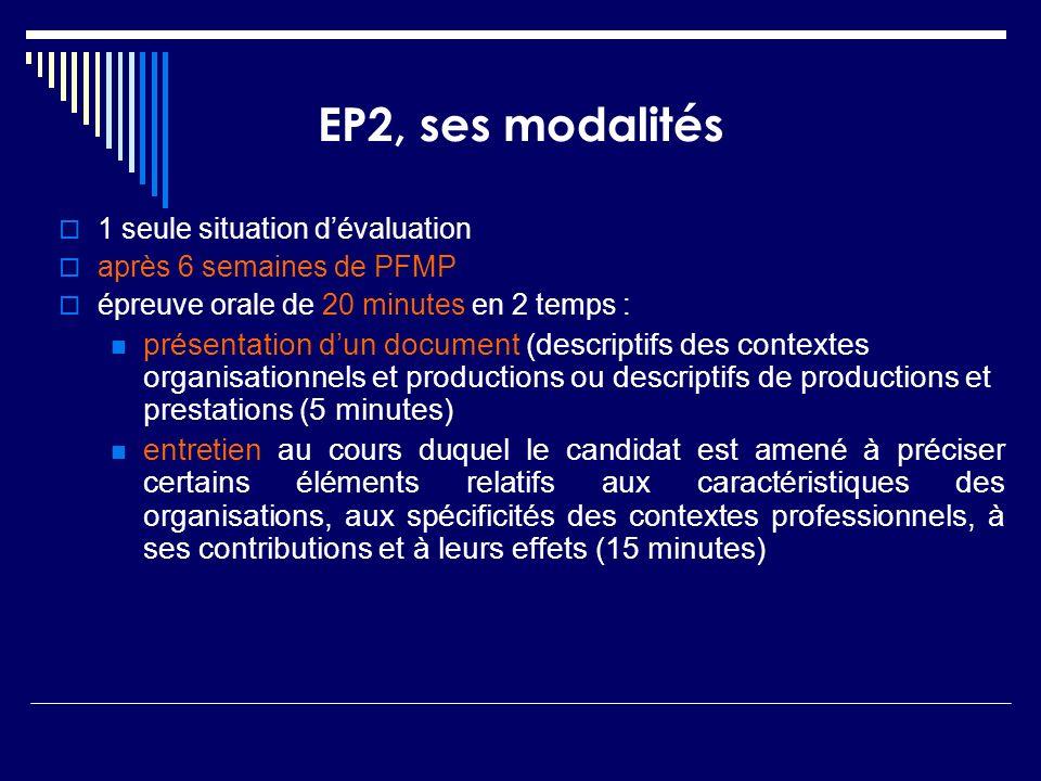 1 seule situation dévaluation après 6 semaines de PFMP épreuve orale de 20 minutes en 2 temps : présentation dun document (descriptifs des contextes o