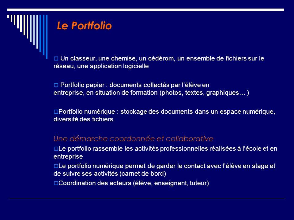 Le Portfolio Un classeur, une chemise, un cédérom, un ensemble de fichiers sur le réseau, une application logicielle Portfolio papier : documents coll