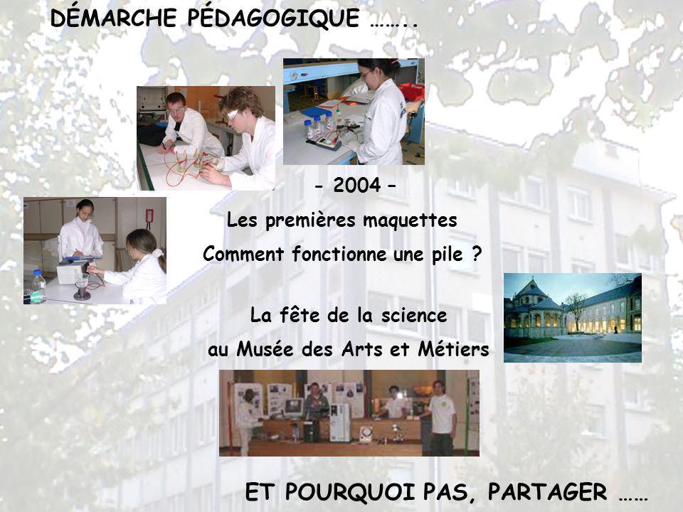 ET POURQUOI PAS, PARTAGER …… - 2004 – Les premières maquettes Comment fonctionne une pile ? La fête de la science au Musée des Arts et Métiers DÉMARCH