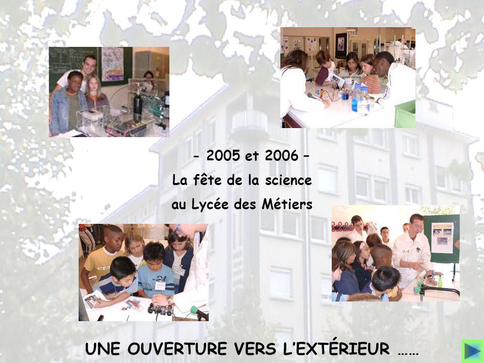 - 2005 et 2006 – La fête de la science au Lycée des Métiers UNE OUVERTURE VERS LEXTÉRIEUR ……