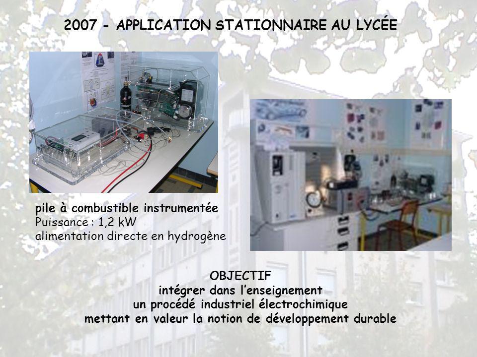 2007 - APPLICATION STATIONNAIRE AU LYCÉE pile à combustible instrumentée Puissance : 1,2 kW alimentation directe en hydrogène OBJECTIF intégrer dans l