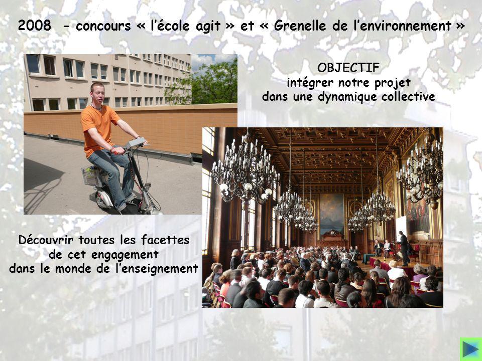 2008 - concours « lécole agit » et « Grenelle de lenvironnement » OBJECTIF intégrer notre projet dans une dynamique collective Découvrir toutes les fa