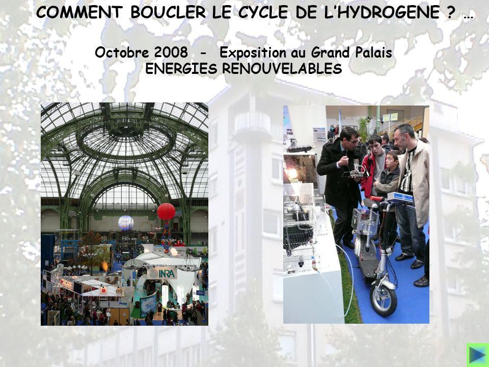 COMMENT BOUCLER LE CYCLE DE LHYDROGENE ? … Octobre 2008 - Exposition au Grand Palais ENERGIES RENOUVELABLES