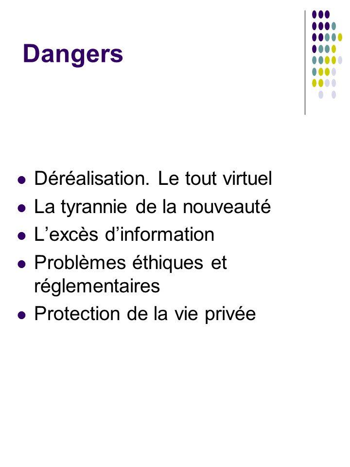 Dangers Déréalisation. Le tout virtuel La tyrannie de la nouveauté Lexcès dinformation Problèmes éthiques et réglementaires Protection de la vie privé