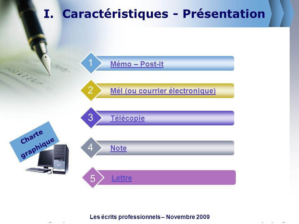 www.themegallery.comCompany Logo I.Caractéristiques - Présentation Mémo – Post-it 1 Mél (ou courrier électronique) 2 Télécopie 3 Note 4 Lettre 5 Chart