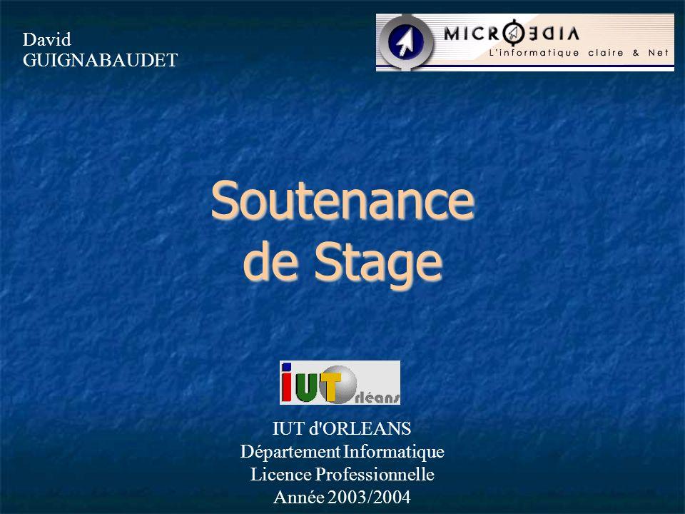 Soutenance de Stage David GUIGNABAUDET IUT d'ORLEANS Département Informatique Licence Professionnelle Année 2003/2004
