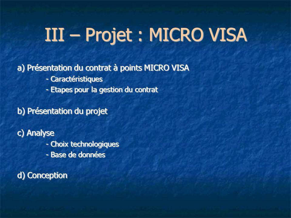 III – Projet : MICRO VISA a) Présentation du contrat à points MICRO VISA - Caractéristiques - Etapes pour la gestion du contrat b) Présentation du pro