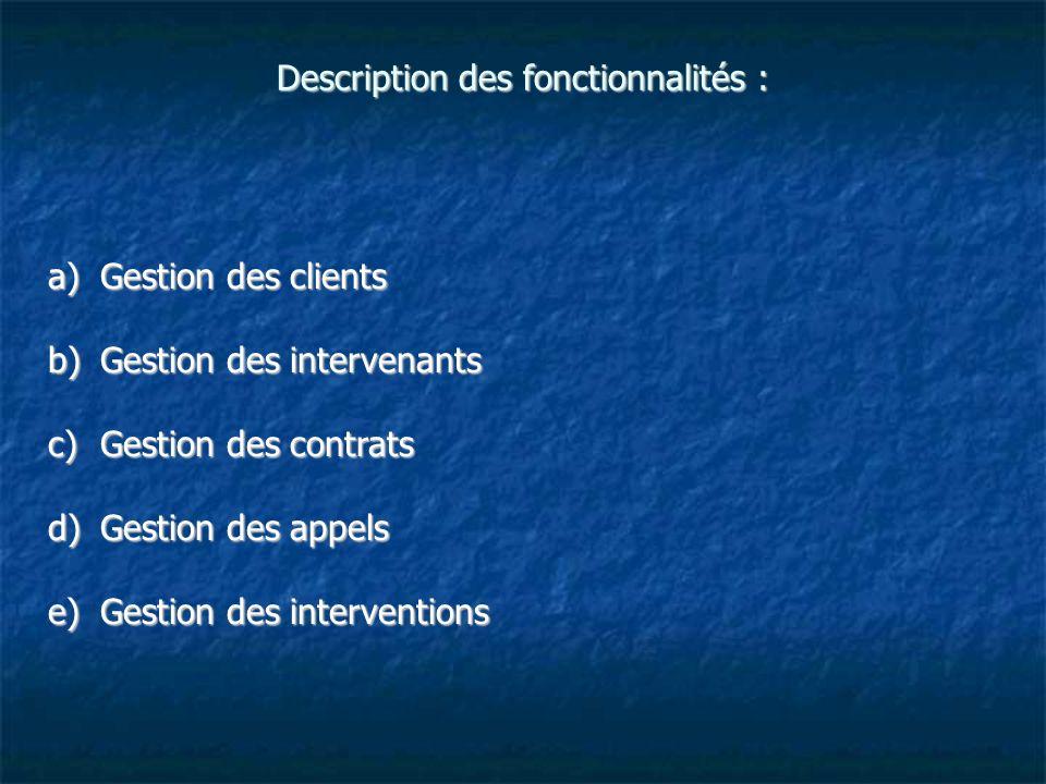 Description des fonctionnalités : a)Gestion des clients b)Gestion des intervenants c)Gestion des contrats d)Gestion des appels e)Gestion des intervent
