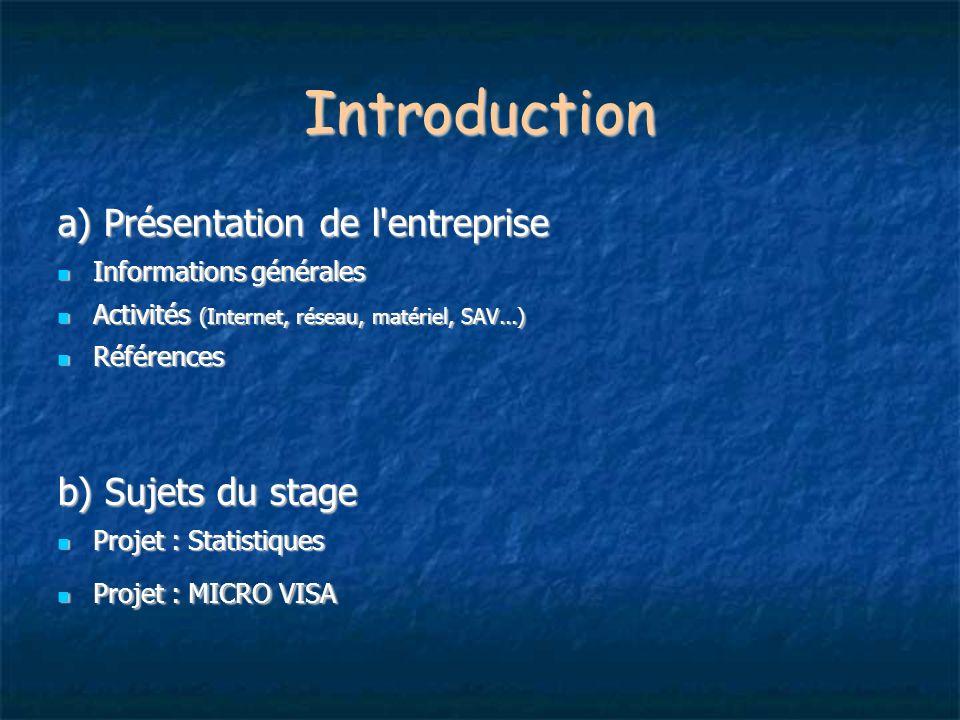 Introduction a) Présentation de l'entreprise Informations générales Informations générales Activités (Internet, réseau, matériel, SAV...) Activités (I