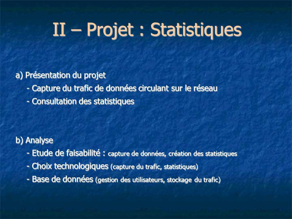 II – Projet : Statistiques a) Présentation du projet - Capture du trafic de données circulant sur le réseau - Consultation des statistiques b) Analyse