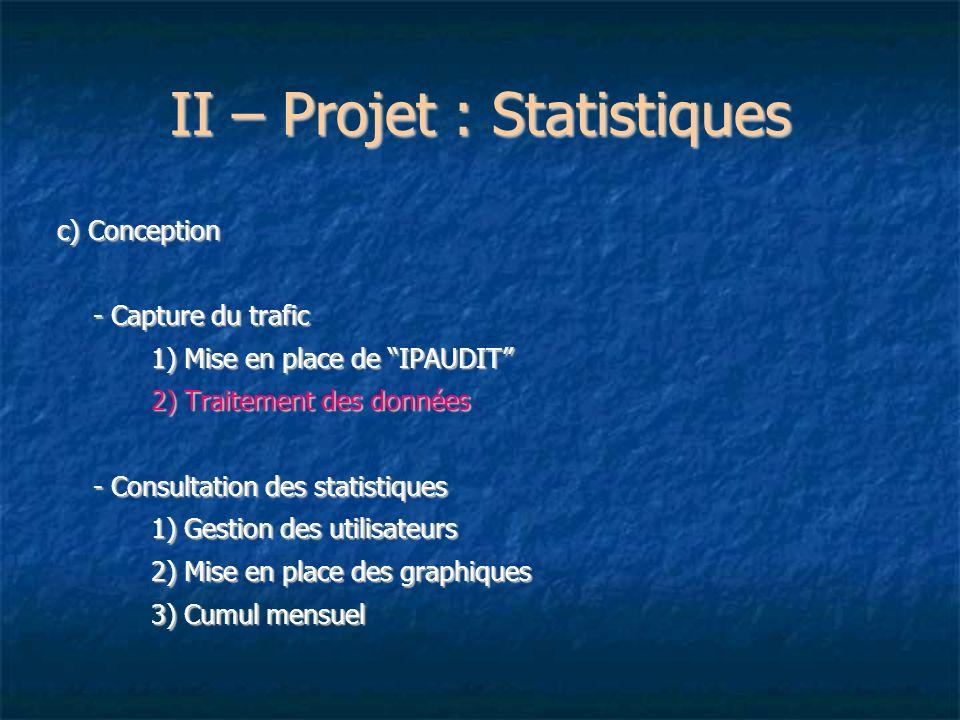 II – Projet : Statistiques c) Conception - Capture du trafic 1) Mise en place de IPAUDIT 2) Traitement des données - Consultation des statistiques 1)