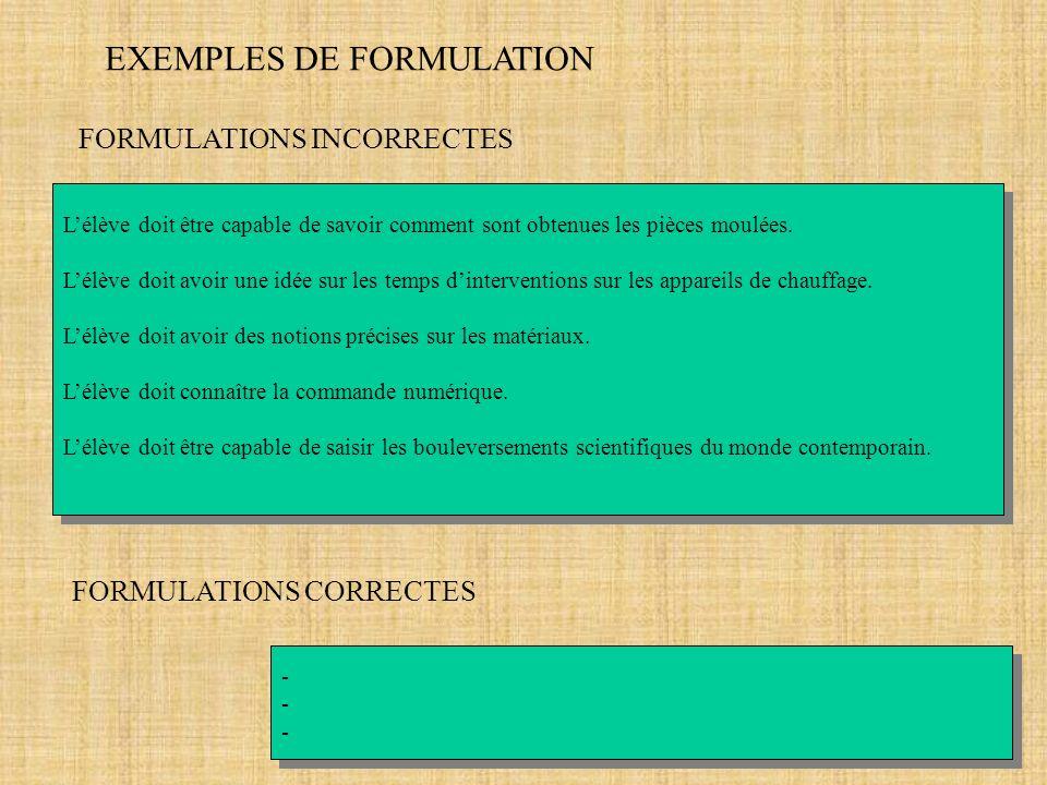 EXEMPLES DE FORMULATION FORMULATIONS INCORRECTES Lélève doit être capable de savoir comment sont obtenues les pièces moulées. Lélève doit avoir une id