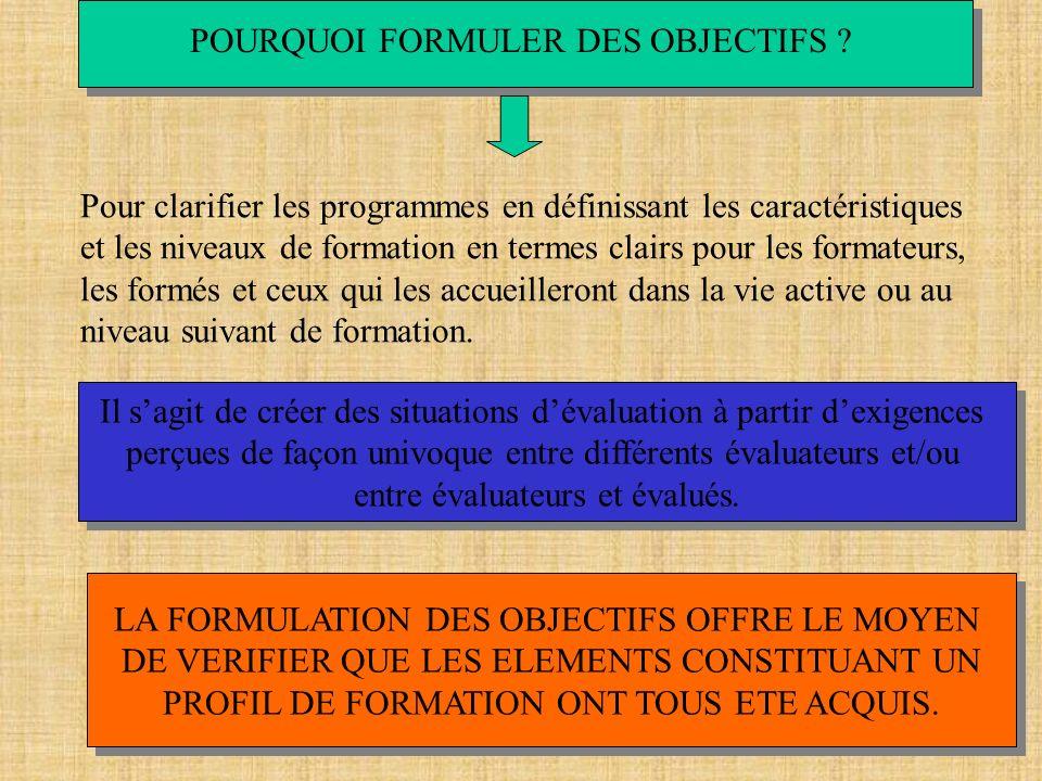 POURQUOI FORMULER DES OBJECTIFS ? Pour clarifier les programmes en définissant les caractéristiques et les niveaux de formation en termes clairs pour