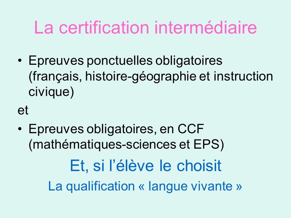 La certification intermédiaire Diplôme obligatoire pour les élèves des établissements du public et du privé Optionnel pour les apprentis des CFA habilités Se déroule au sein des établissements.