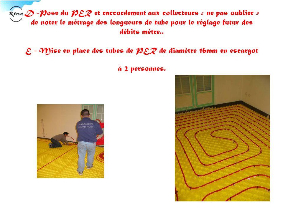 D -Pose du PER et raccordement aux collecteurs « ne pas oublier » de noter le métrage des longueurs de tube pour le réglage futur des débits mètre.. E