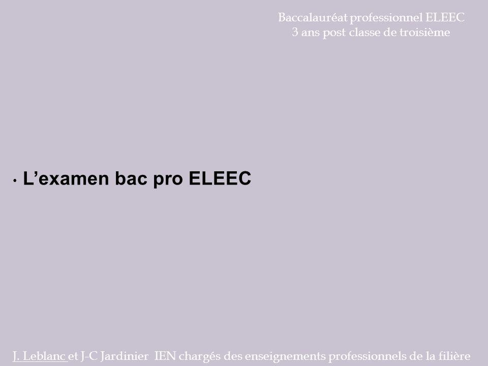 Baccalauréat professionnel ELEEC 3 ans post classe de troisième Lexamen bac pro ELEEC J. Leblanc et J-C Jardinier IEN chargés des enseignements profes