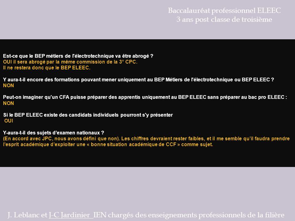 Baccalauréat professionnel ELEEC 3 ans post classe de troisième Les PFMP J.