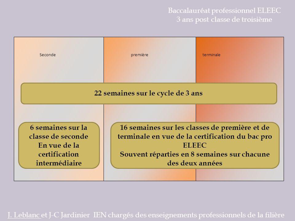 Baccalauréat professionnel ELEEC 3 ans post classe de troisième Les contenus de formation J.