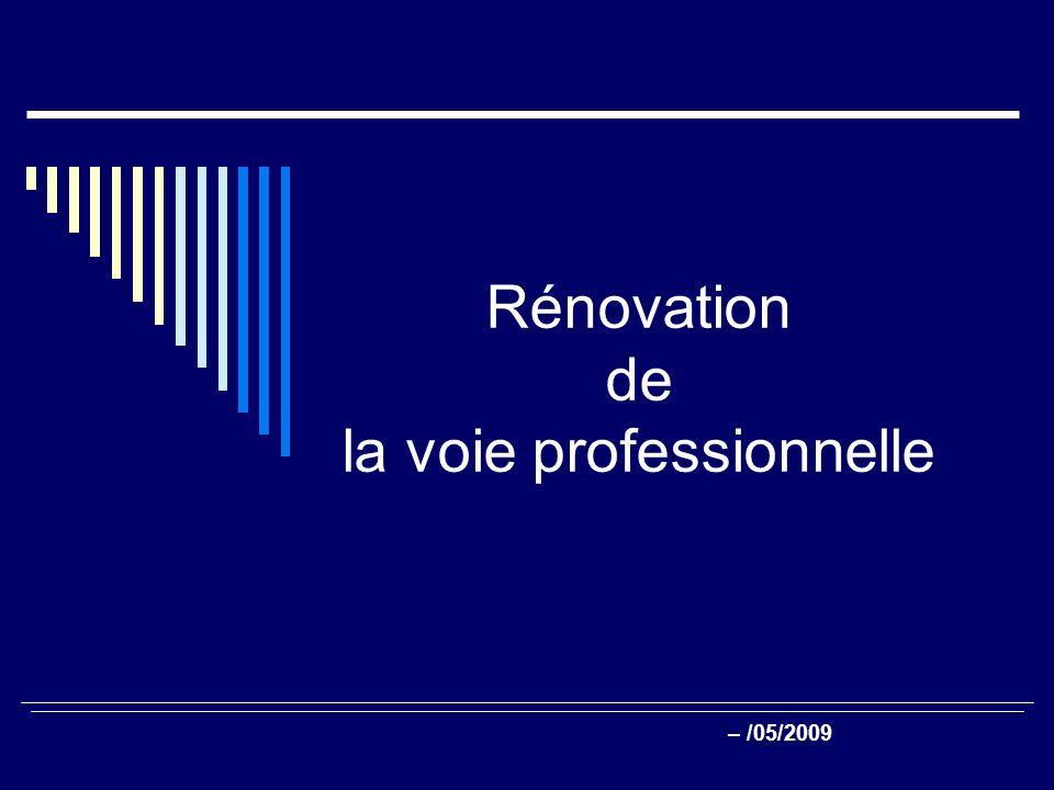 Rénovation de la voie professionnelle – /05/2009