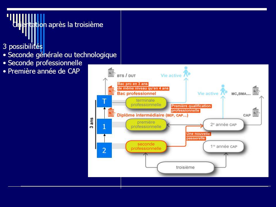 Orientation après la troisième 3 possibilités Seconde générale ou technologique Seconde professionnelle Première année de CAP 2 1 T
