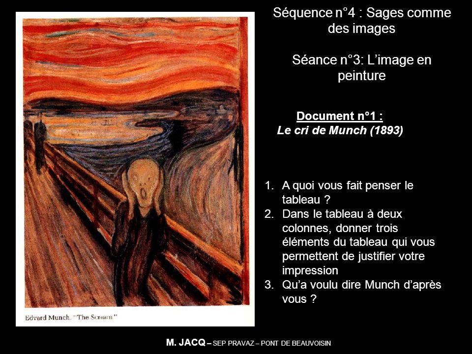 Séquence n°4 : Sages comme des images Séance n°3: Limage en peinture Document n°1 : Le cri de Munch (1893) 1.A quoi vous fait penser le tableau ? 2.Da