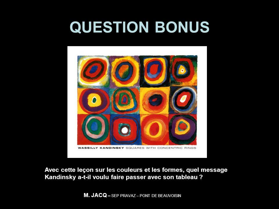 QUESTION BONUS M. JACQ – SEP PRAVAZ – PONT DE BEAUVOISIN Avec cette leçon sur les couleurs et les formes, quel message Kandinsky a-t-il voulu faire pa