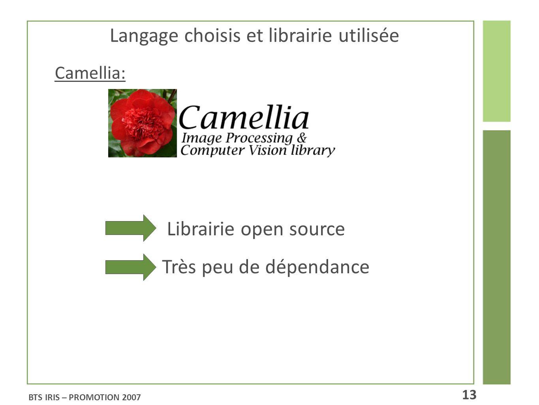 Langage choisis et librairie utilisée Librairie open source Très peu de dépendance Camellia: BTS IRIS – PROMOTION 2007 13
