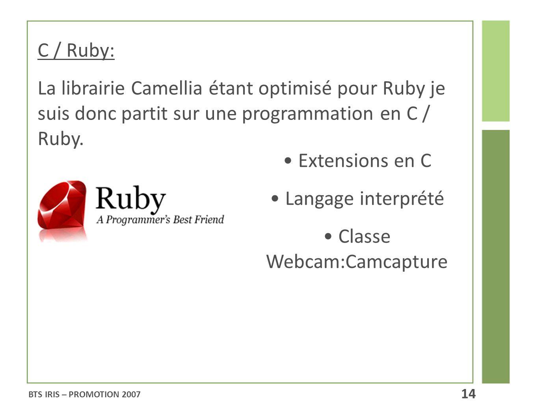C / Ruby: La librairie Camellia étant optimisé pour Ruby je suis donc partit sur une programmation en C / Ruby. Extensions en C Langage interprété Cla