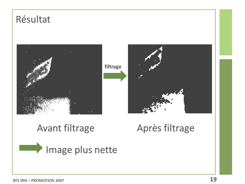Avant filtrage Après filtrage filtrage Image plus nette Résultat BTS IRIS – PROMOTION 2007 19