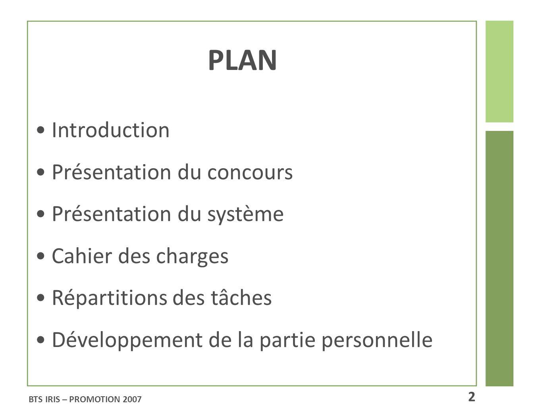 PLAN Introduction Présentation du concours Présentation du système Cahier des charges Répartitions des tâches Développement de la partie personnelle B