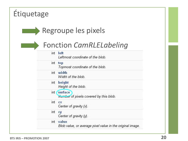 BTS IRIS – PROMOTION 2007 20 Étiquetage Regroupe les pixels Fonction CamRLELabeling
