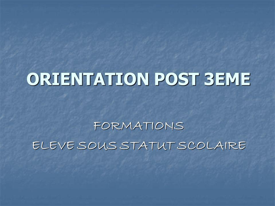 ORIENTATION POST 3EME FORMATIONS ELEVE SOUS STATUT SCOLAIRE