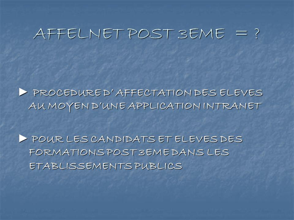 AFFELNET POST 3EME = ? PROCEDURE D AFFECTATION DES ELEVES AU MOYEN DUNE APPLICATION INTRANET PROCEDURE D AFFECTATION DES ELEVES AU MOYEN DUNE APPLICAT