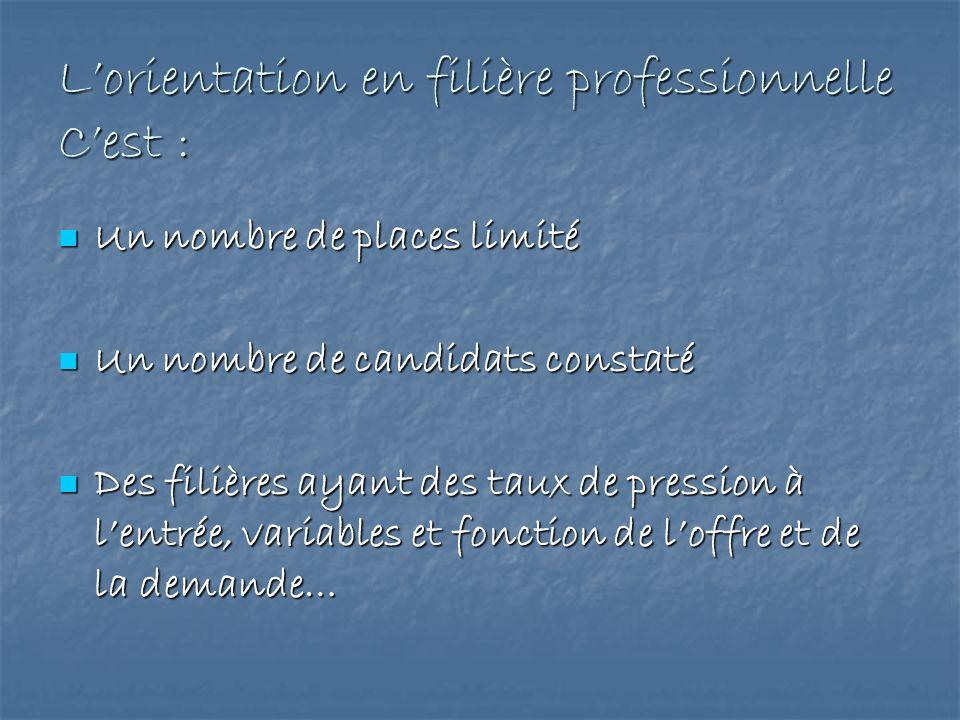 Lorientation en filière professionnelle Cest : Un nombre de places limité Un nombre de places limité Un nombre de candidats constaté Un nombre de cand