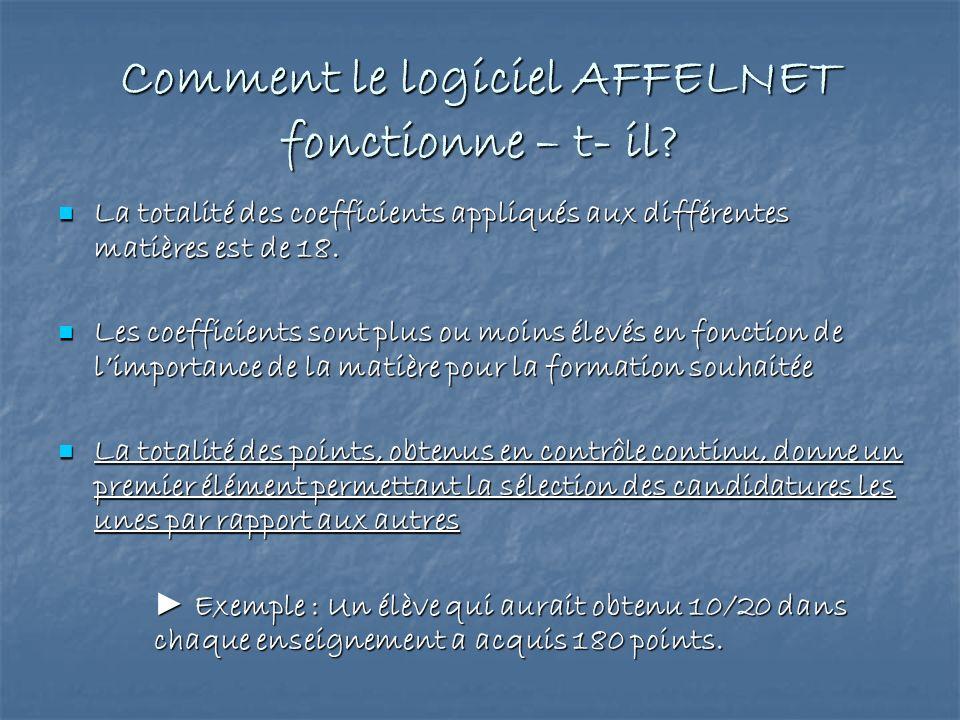 Comment le logiciel AFFELNET fonctionne – t- il? La totalité des coefficients appliqués aux différentes matières est de 18. La totalité des coefficien