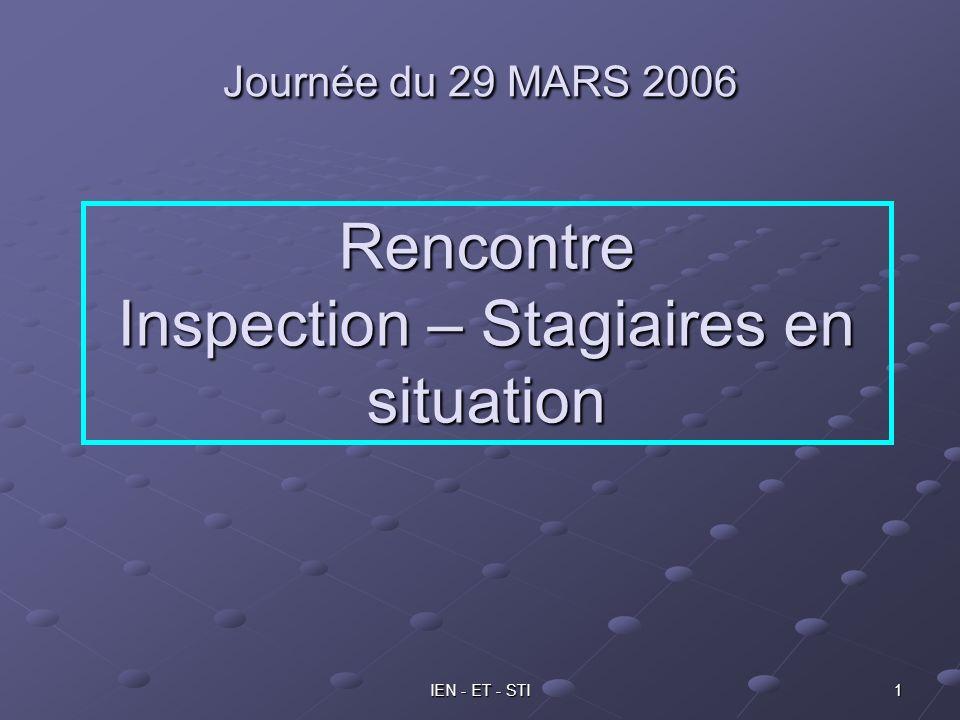 IEN - ET - STI 1 Journée du 29 MARS 2006 Rencontre Inspection – Stagiaires en situation
