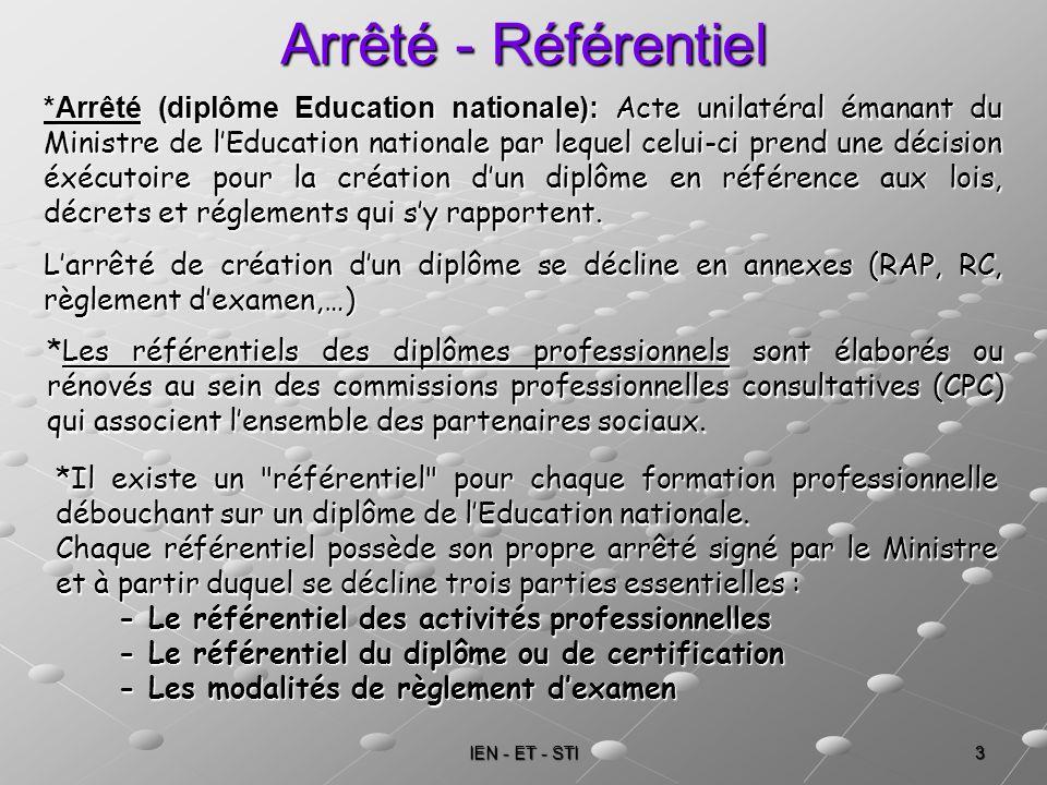 IEN - ET - STI 3 Arrêté - Référentiel *Arrêté (diplôme Education nationale): Acte unilatéral émanant du Ministre de lEducation nationale par lequel ce