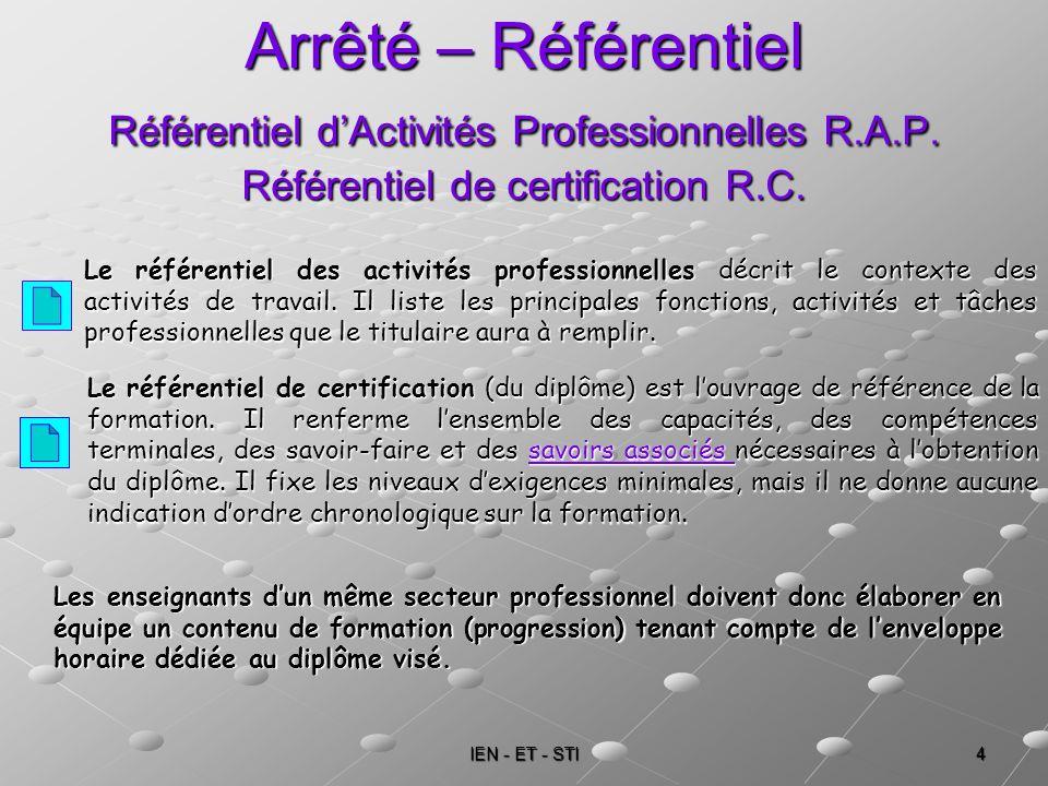 IEN - ET - STI 4 Arrêté – Référentiel Référentiel dActivités Professionnelles R.A.P. Référentiel de certification R.C. Le référentiel des activités pr