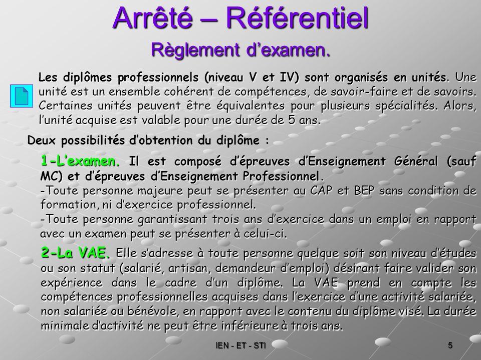 IEN - ET - STI 5 Arrêté – Référentiel Règlement dexamen. Les diplômes professionnels (niveau V et IV) sont organisés en unités. Une unité est un ensem