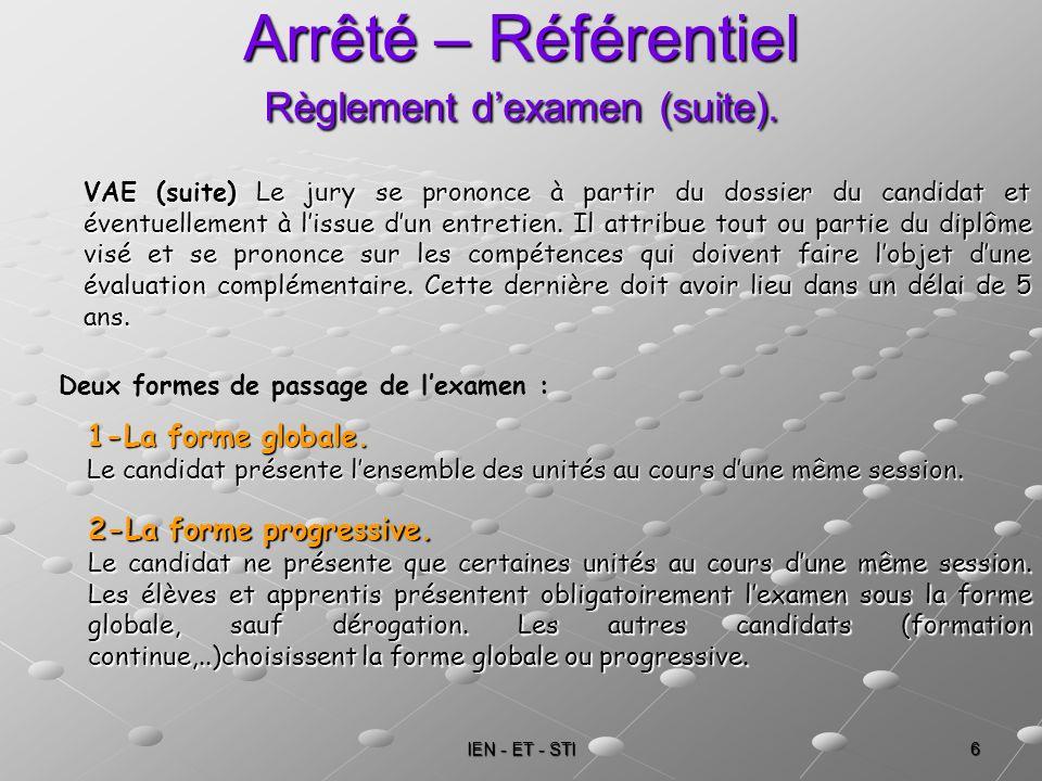 IEN - ET - STI 6 Arrêté – Référentiel Règlement dexamen (suite). VAE (suite) Le jury se prononce à partir du dossier du candidat et éventuellement à l