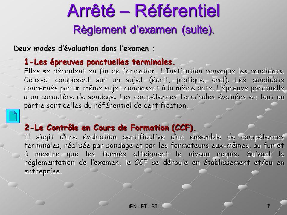 IEN - ET - STI 7 Arrêté – Référentiel Règlement dexamen (suite). 1-Les épreuves ponctuelles terminales. Elles se déroulent en fin de formation. LInsti