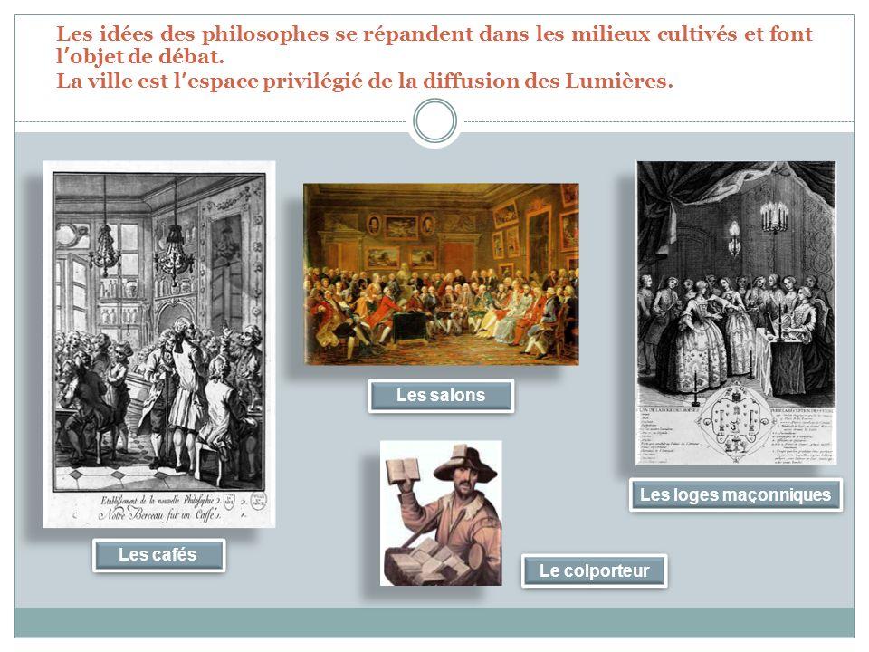 Les idées des philosophes se répandent dans les milieux cultivés et font lobjet de débat.