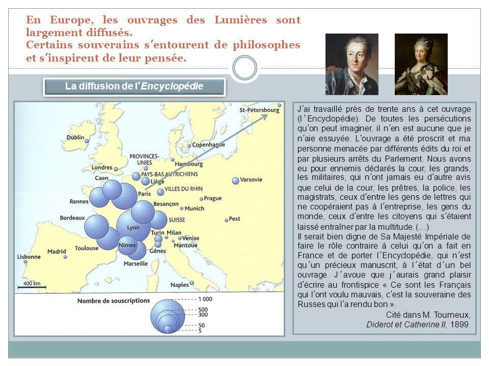 La diffusion de lEncyclopédie En Europe, les ouvrages des Lumières sont largement diffusés.
